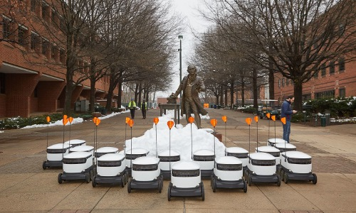 wheeled robots and George Mason statue